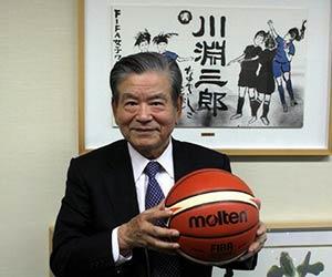 バスケットボールを持つ川淵三郎