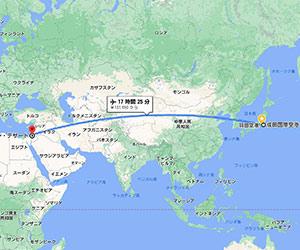 日本からイスラエルまでの地図