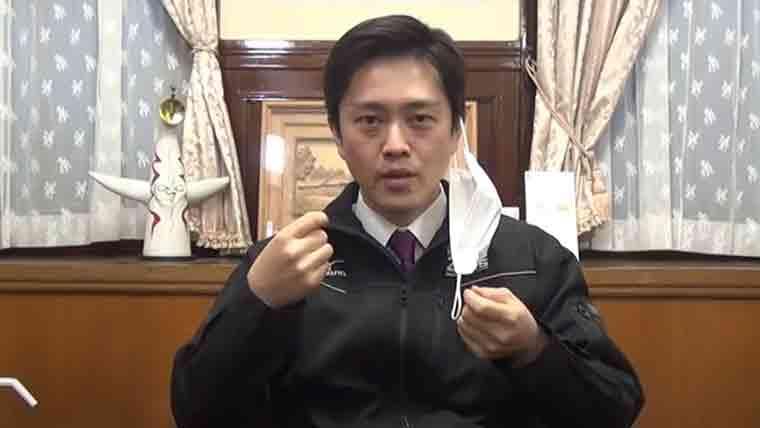 マスク会食のやり方を説明する大阪府知事吉村知事