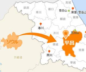 ソウルから平昌の地図