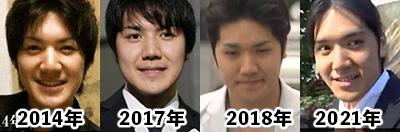 小室圭の顔画像の変化を時系列比較